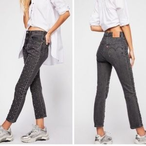 LEVI'S| 501 Original Cropped Studded Jean NWT